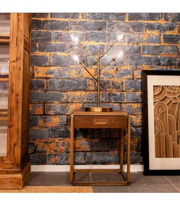 Mesa de noche en roble y metal dorado