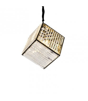 Lámpara metal oscuro y cristal