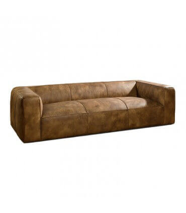 Sofá piel color marrón claro