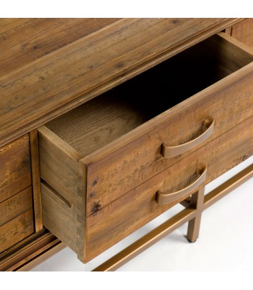 Mueble de TV madera envejecida y metal dorado