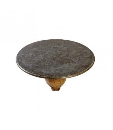 Mesa redonda de mármol y madera