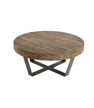 Mesa madera envejecida y metal