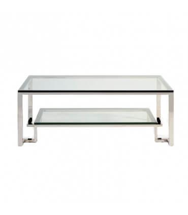 Mesa de acero y cristal