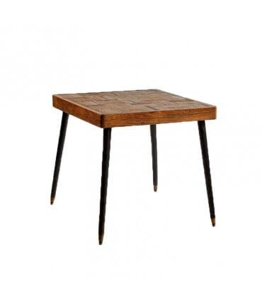 Mesa cuadrada en madera y metal
