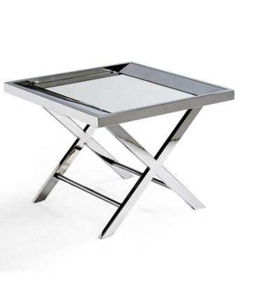 Mesa axiliar de acero y espejo