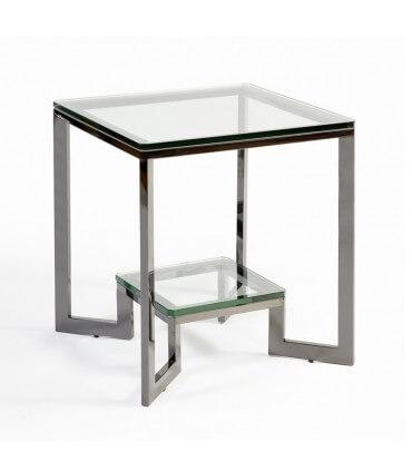 Mesa auxiliar de cristal y acero