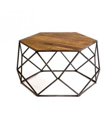 Mesa hexagonal de madera y metal