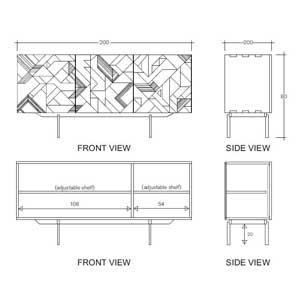 Aparador Graphic de 3 puertas CarlaKey